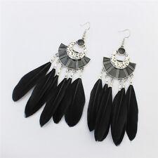 Retro Long Earrings Fashion Feather Earrings  Bohemian Ethnic Tassel Earrings HG