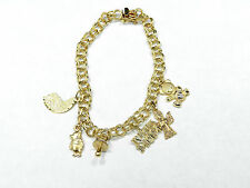 """7"""" 14K Yellow Gold Double Link Charm Bracelet With Lovely Charms 12.8 Grams"""