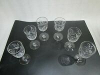 6 x Victorian Etched Wine  Sherry Glasses , 12 x 5 cm