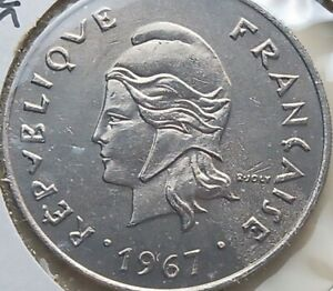 1967 New Caledonia 50 francs coin, Uncirculated