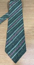 """Giorgio Armani Cravatte Green Striped Necktie 100% Silk Made In Italy 58""""L 4""""W"""