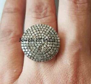 victorian Jewelry Natural Rose Cut Diamond & 925 Sterling Silver Ring