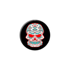 Mexican Day of the Dead Skull - Metal Lapel Hat Round Pin Tie Tack Pinback