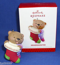 Hallmark Ornament Granddaughter 2013 Bear Holding Christmas Stocking Free Ship
