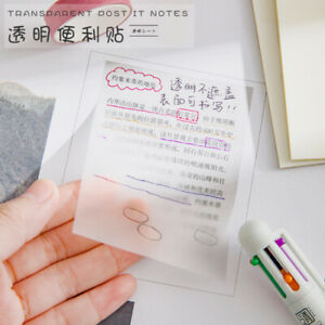 50Pcs/set Waterproof PET Transparent Sticky Notes Memo Pad Stickers For Office