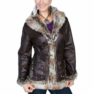 Scully Ladies Mottled Faux Shearling Dark Brown Jacket 8013-DBN
