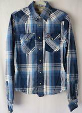 Hollister Guys Shirt Snap Front Long Sleeve 2 Pockets Blue Plaid Large #8099