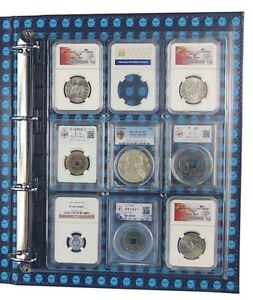 4x Clear Plastic Certified Coin Slab Binder Album Pages for NGC PCGS Graded Slab
