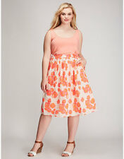 Lane Bryant Bright Floral Circle Skirt w/Pockets 26/28 Pull On Fully Lined 3X 4X