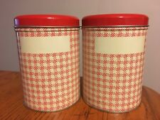 """Vtg pair TWO 50's 6"""" ROCK'N RED Check Design Metal Canisters"""