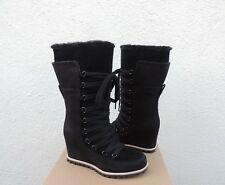 UGG MASON CORSET LACE WP SUEDE/ SHEEPSKIN LINED WEDGE BOOTS, US 9/ EUR 40 ~NIB