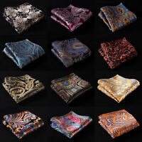 Paisley Floral Silk Mens Pocket Square Hanky Wedding Party Handkerchiefs #B9