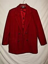 Karen Brand Red Wool Womens Peacoat Size Large Double Breasted 100% Wool A69