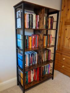 Tall Industrial Bookcase Vintage Display Cabinet Rustic Metal Book Shelf Rack