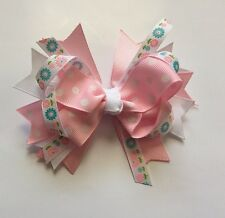 Pink & White Polka Dot/Flowers Hair Bow Spring Summer Birthday Girl Double Knot