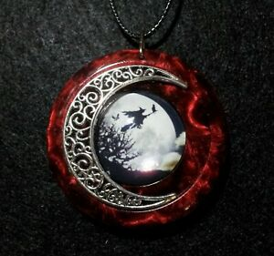 Witch and Moon Pendant, Halloween Jewelry,Red, Wiccan Jewelry, Pagan, Witchcraft