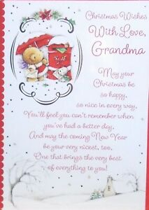GRANDMA CHRISTMAS CARD ~ Cute Bear & Dog Posting Card Front Verse