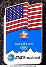 Olympic Pins 2002 Salt Lake City At&T Sponsor Usa Flag