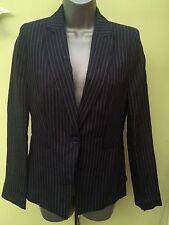 New Next Size 8 Petite Linen, Pinstripe Womens Tailored Navy Blue Jacket, coat