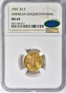 1926 $2.50 Sesquicentennial Commemorative Gold NGC MS-64 CAC
