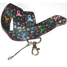 Breast Cancer Awareness Lanyard multi Ribbon Black Badge Holder id Keyring Strap
