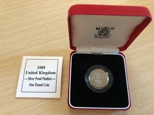 UK GB 1989 ROYAL MINT UK ONE POUND SILVER PROOF PIEDFORT  w. BOX/COA