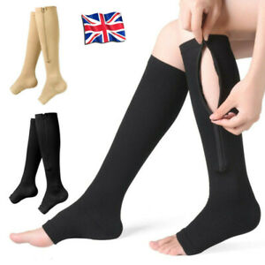 1Pair Medical Compression Socks Varicose Knee Vein Open Toe Support Stockings UK