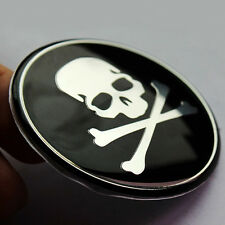 Cross Wheel Center Decal Skull Logo Cover 4Pcs Car Hub Black&Sliver Bone Sticker