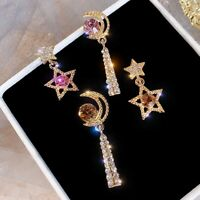 Korean Woman Crystal Star and Moon Earrings Rhinestone Long Pendant Dangle HOT