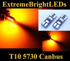 TWO Orange AMBER 2825 W5W 6-SMD 5730 Canbus Error Free LED Parking Lights #11B