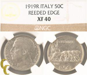 1919-R Italy 50 Centesimi Reeded Edge (NGC XF40) Italian 50c Cent KM#61.2 Rare!