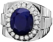 8.70Ct Natural Diamond & Sapphire 18K Solid White Gold Men's Ring