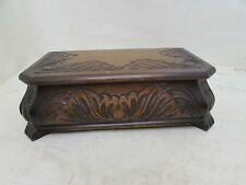 Beautiful Early Vintage Oak Musical Footed Jewellery Box