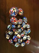 """VINTAGE ITALIAN VENETIAN MILLEFIORI GLASS BEADS NECKLACE ON GOLD Tone WIRES 22"""""""