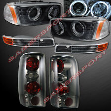 2000-2006 GMC YUKON HALO PROJECTOR HEADLIGHTS + BUMPER + SMOKE TAIL LIGHTS