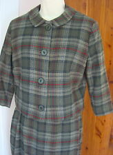 Vintage 40-50s All Wool Century of Boston Gray Red Plaid Side Zip Skirt Suit