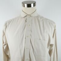 Jos A Bank Mens Cotton Traveler LS Button Down Beige Striped Dress Shirt 15.5-32