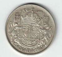 CANADA 1949 HOOF OVER 9 50 CENT HALF DOLLAR GEORGE VI CANADIAN .800 SILVER COIN