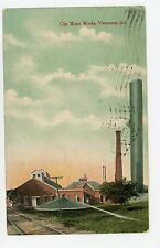 City Water Works VINCENNES IN Rare Antique Industrial Smokestack Railroad 1915
