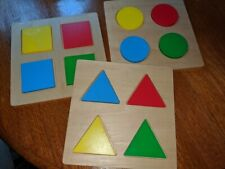 Wooden shape puzzles set of 3 circle, triangle, square