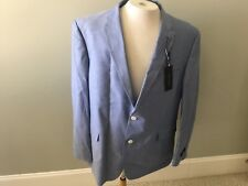 Tommy Hilfiger Jacket Sports Coat 46 Regular Blue Chambray New Cotton Lined