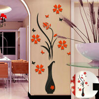 3D Mirror Room Wall Sticker Flower Decal DIY Removable Art Mural Home  Decor