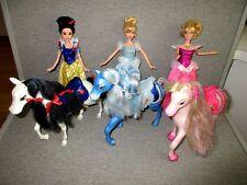 Barbie Disney Princess-Aurora-CINDERELLA-Snow White & Horses Saddles  Lot D2