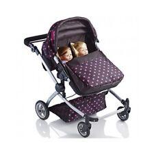 Dolls Double Pram Babies Twin Seat Toys Girl & Boy Pushchair Light Weight Sturdy