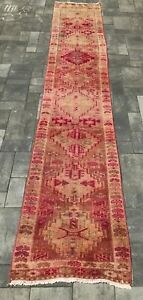 """Turkish Wool Runner, Vintage Hand Knotted Soft Pile 11'6""""x 2'3"""", FREE SHIPPING!"""
