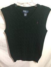 Polo Ralph Lauren Boy's Green 100% Cotton Sweater Vest Size Sz Large Lrg L a