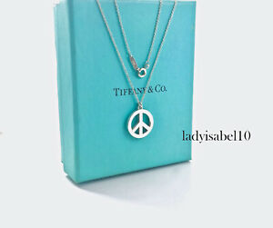 """Tiffany & Co Sterling Silver 16"""" Necklace Circle Peace Sign Pendant Gift Box 213"""