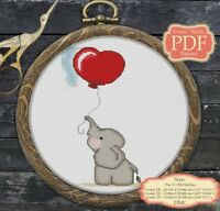 Cross Stitch PDF Pattern - Elephant in love - Nursery Decor - 022
