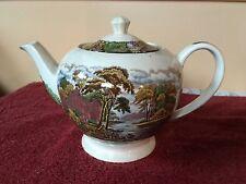 vintage sadler teapot england colorful, garden, lake, flowers, trees