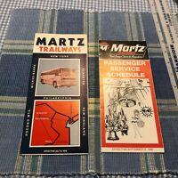 1978 & 1980 Lot of 2 Martz Trailways Bus Passenger Schedule Timetables